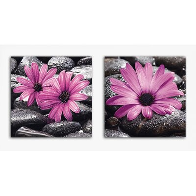 Platin Art Deco Glass Fancy Flowers 2 Piece Photographic Print on Canvas Set