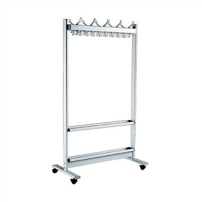 67'' H x 39.5'' W x 20'' D Mobile Coat Rack with 28 Hooks and Umbrella Stand Product Photo