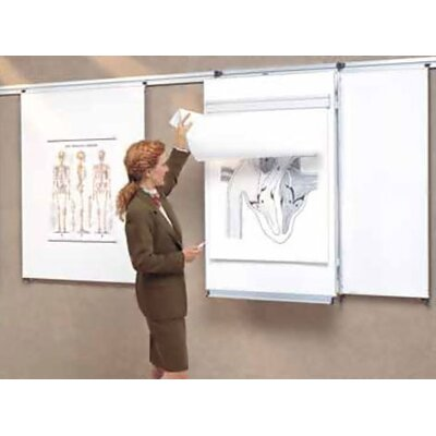 Peter Pepper Tactics Plus® 2 Level Wall Track and Writing Surface Wall Mounted Whiteboard, 4' x 8'