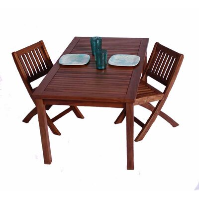 JazTy Classic Kids' 3 Piece Teak Table and Folding Chair Set