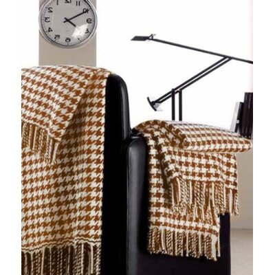 Peach Couture 100% Cashmere Houndstooth Throw