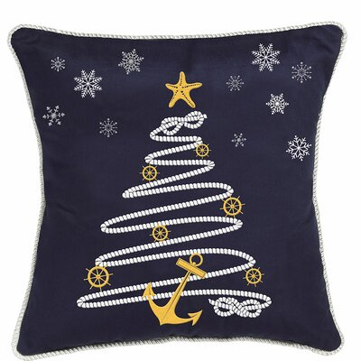 Nautical Holiday Rope Tree Throw Pillow by Rightside Design