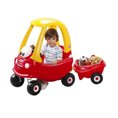 Cozy Coupe Push Car with Trailer by Little Tikes