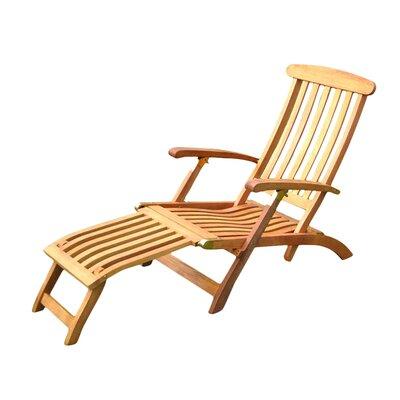 International Caravan Royal Tahiti Balau Folding Patio Steamer Lounge Chair