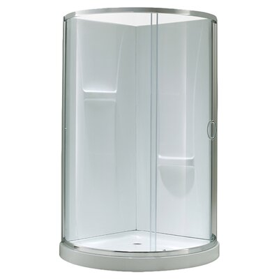 """Breeze Premium 38"""" x 38"""" x 76"""" Sliding Door Shower Package Without Walls Product Photo"""