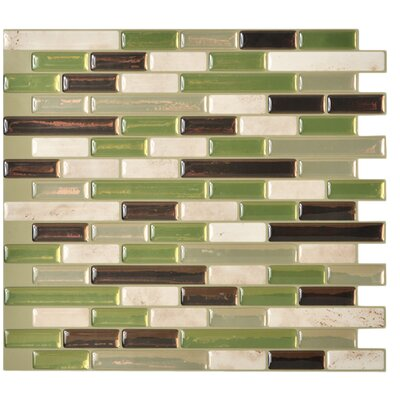 "Mosaik 10.25"" x 9.13"" Mosaic Tile in Green & Gray Product Photo"