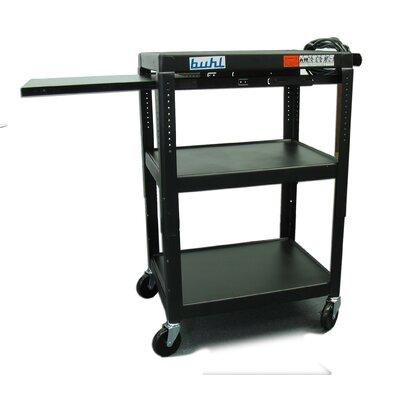 Buhl Height Adjustable AV Cart with 3 Stationary Shelves