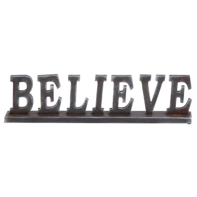 """Woodland Imports Simple Table with Word """"Believe"""" Letter Block"""