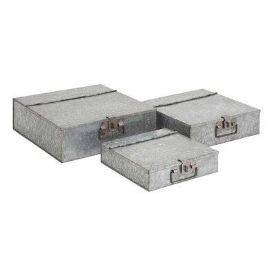 Woodland Imports Fascinating Styled 3 Piece Metal Galvanized Box Set