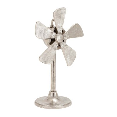 Fascinating Styled Aluminum Fan Decor Sculpture by Woodland Imports