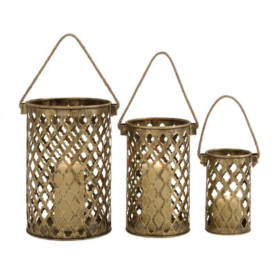 Woodland Imports Antique 3 Piece Metal Lantern Set