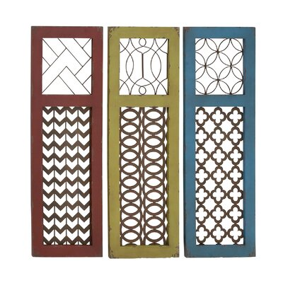 Woodland Imports 3 Piece Fancy Wood Metal Panel Wall D 233 Cor Set