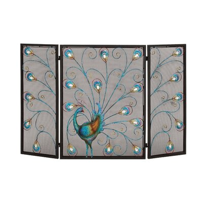 Woodland Imports 3 Panel Metal Fireplace Screen