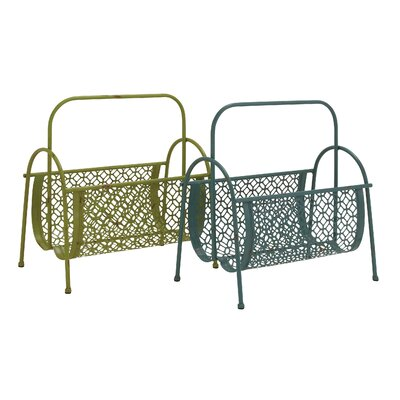 Fascinating Styled Metal Magazine Rack by Woodland Imports