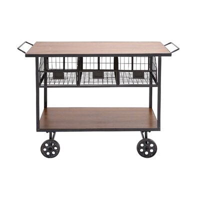 Woodland Imports The Heartthrob Metal Wood Utility Cart