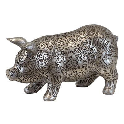 Beautifully Embellished with Floral Motifs and Design Resin Pig Figurine by Woodland Imports