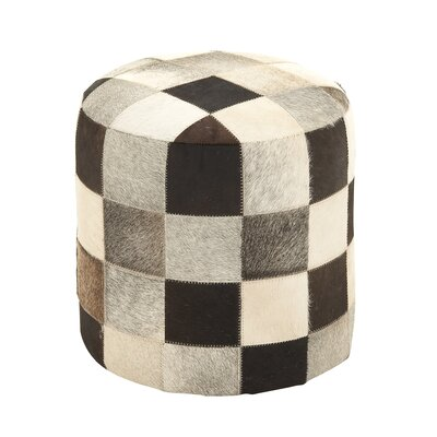 Fascinating Styled Leather Ottoman by Woodland Imports