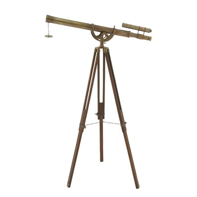 Charming Brass Wood Telescope Sculpture by Woodland Imports