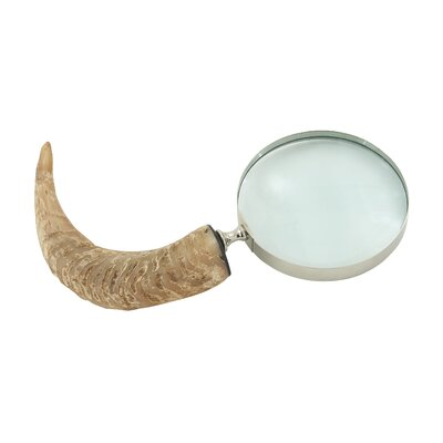 Classic Brass Horn Magnifying Glass Sculpture by Woodland Imports