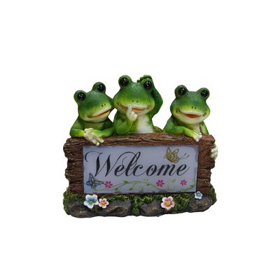 Solar Frogs Welcome Statue by Woodland Imports
