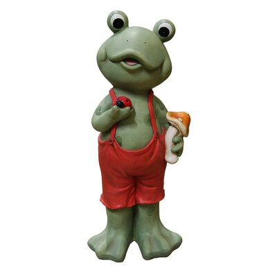Boy Frog in Suspenders Statue by Woodland Imports