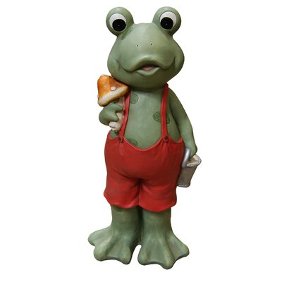 Frog Boy in Suspenders Statue by Woodland Imports