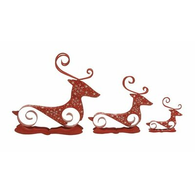 Magnificent 3 Piece Reindeer Christmas Decoration Set by Woodland Imports