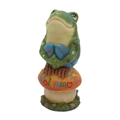 Frog On Mushroom Statue by Woodland Imports