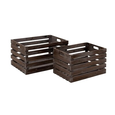 2 Piece Wood Wine Crate Set by Woodland Imports
