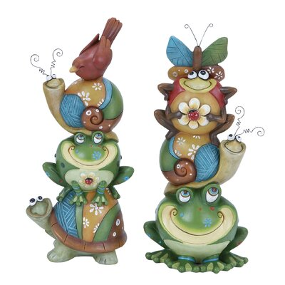 Woodland Imports Animal Stack Vibrant, Quirky and Decorative Figurine