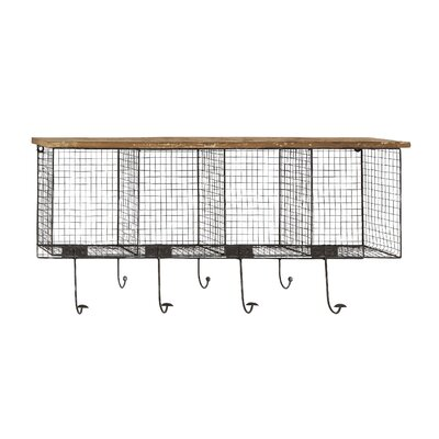 Wood and Metal Wire Coat Rack by Woodland Imports