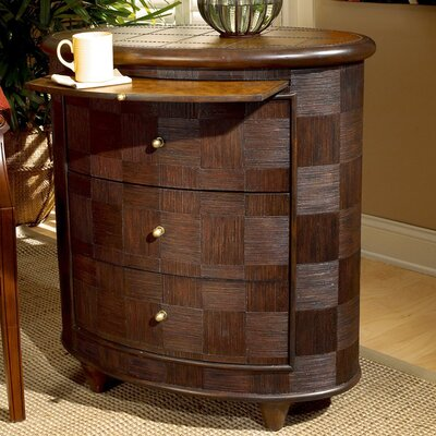 Designer's Edge Rattan Oval 3 Drawer End Table by Butler