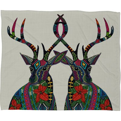 Sharon Turner Poinsettia Deer Plush Fleece Throw Blanket by DENY Designs