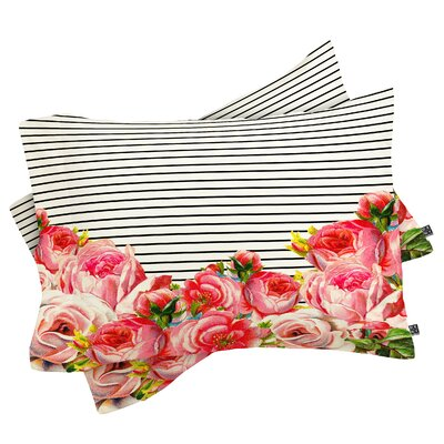 Allyson Johnson Bold Floral and Stripes Pillowcase by DENY Designs