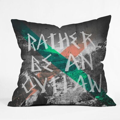 DENY Designs Wesley Bird Rather Be An Outlaw Indoor/Outdoor Throw Pillow