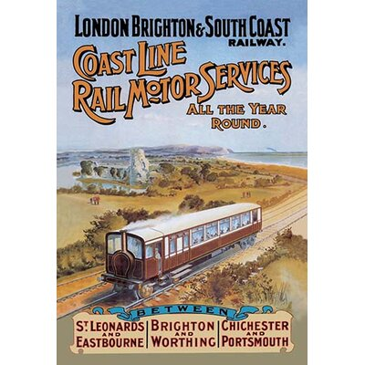Coast Line Rail Motor Services All the Year Round Vintage Advertisement by Buyenlarge