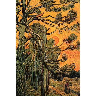 Buyenlarge Pine Trees against a Red Sky with Setting Sun by Vincent Van Gogh Painting Print on Wrapped Canvas