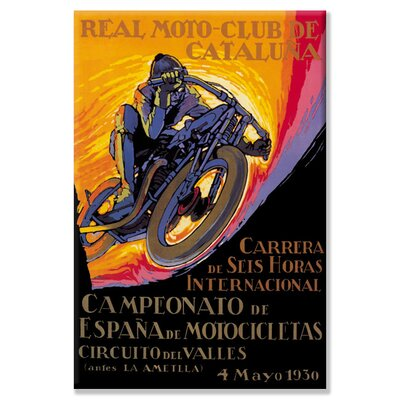 Buyenlarge Real Motor Club of Cataluna - 6 Hour Race by Josep Segrelles Vintage Advertisement on Wrapped Canvas