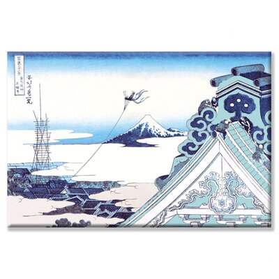 Kite Flying in View of Mount Fuji by Katsushika Hokusai Painting Print on Wrapped Canvas ...