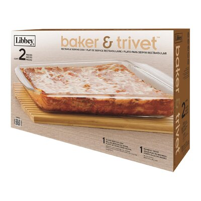 3.4 qt Rectangle Baker and Trivet by Libbey