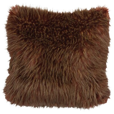Ostrich Burgundy Faux Fur Throw Pillow by Wooded River