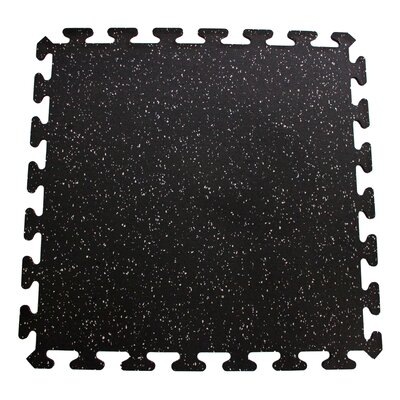 iFLEX Recycled Rubber Interlocking Floor Tiles in Black with Gray Specks by Mats Inc.