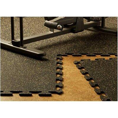 Mats Inc. iFLEX Recycled Rubber Interlocking Floor Tiles in Black with Tan Specks