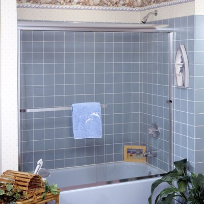 "Paragon 36"" x 36"" x 57"" Sliding Door Frameless Tub Enclosure with Base Product Photo"