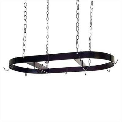 Oval Hanging Pot Rack with 12 Hooks and Chains by Grace