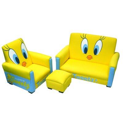 Harmony Kids Warner Brothers Tweety Kid's Sofa, Chair and Ottoman Set