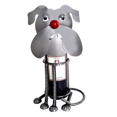 Bulldog 1 Bottle Tabletop Wine Rack by H & K SCULPTURES
