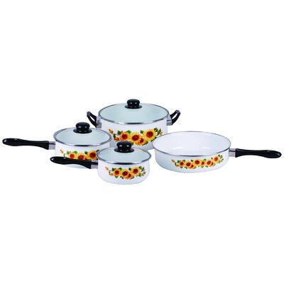 Traditional Sunflower Enamel 7 Piece Cookware Set by Gourmet Chef