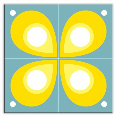 "Oscar & Izzy Earth Quads 8-1/2"" x 8-1/2"" Glossy Decorative Tile Quad in Mod Flod Teal"