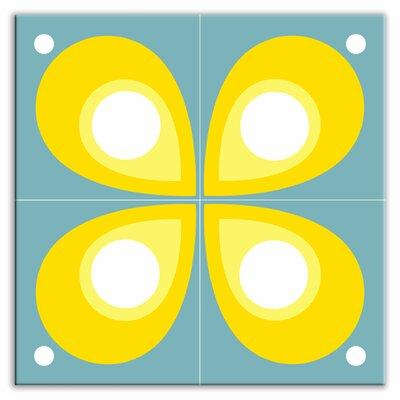 "Oscar & Izzy Earth Quads 8-1/2"" x 8-1/2"" Satin Decorative Tile Quad in Mod Flod Teal"